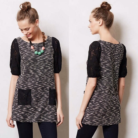 "Anthropologie Tops - Anthropologie ""Postmark"" Black/White Marled Tunic"